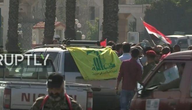 LIVE ΕΙΚΟΝΑ: Στους δρόμους οι κάτοικοι της Δαμασκού