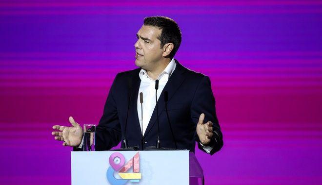 O πρόεδρος του ΣΥΡΙΖΑ στο βήμα της 84ης ΔΕΘ
