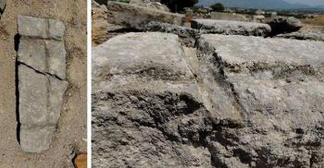Πέτρινο μπλοκ από τα αρχαίο ναό στα Ίσθμια με αυλακώσεις