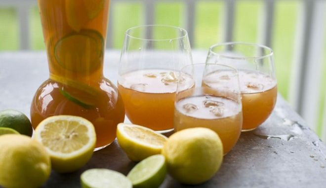 This image taken on May 30, 2012, shows a summer punch mix of orange, lemon, and lime tea-ade in Concord, N.H. (AP Photo/Matthew Mead)