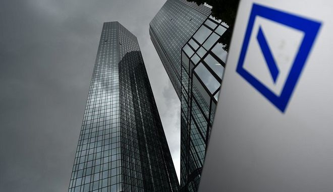 epa05001594 (FILE) A file photo dated 20 May 2015 showing dark clouds hovering over the headquarters of German banking and financial services corporation Deutsche Bank in Frankfurt, Germany. Deutsche Bank, Germany's largest bank, said 29 October 2015 that it will cut about 9,000 jobs, four days after it announced a restructuring. The reorganization of the bank's leadership was announced Sunday by chief executive John Cryan, who said the aim was 'to create a bank that's better-controlled, more cost-efficient and more strongly focused.' The bank has been dogged by a host of problems in recent months, ranging from shake-ups in management to major anticipated losses. It also was fined 2.5 billion dollars in April for its role in manipulating the benchmark Libor interest rate, which banks charge one another for loans. Deutsche Bank is also preparing to sell its Postbank subsidiary, which will mean a loss of a further 15,000 positions.  EPA/ARNEDEDERT