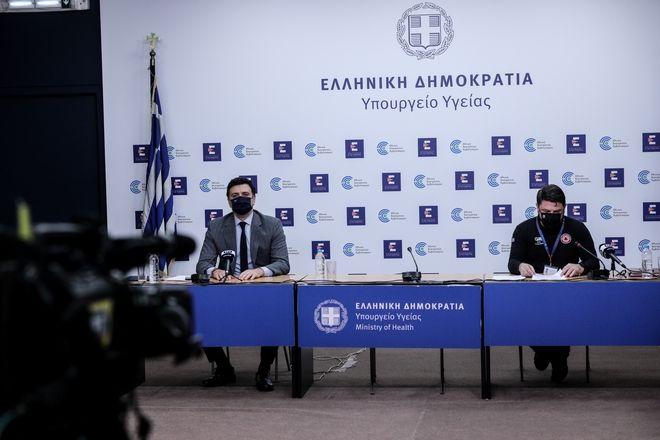 Βασίλης Κικίλιας και Νίκος Χαρδαλιάς κατά την ενημέρωση για τον κορονοϊό.