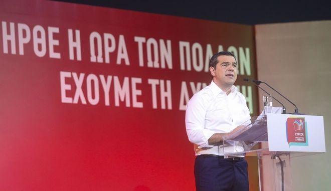 Ο πρωθυπουργός Αλέξης Τσίπρας σε προεκλογική συγκέντρωση του ΣΥΡΙΖΑ στη Θεσσαλονίκη