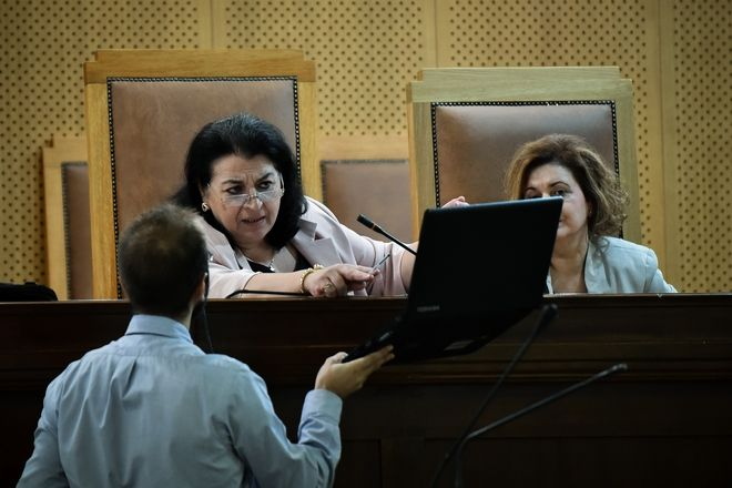 Στιγμιότυπο από συνεδρίαση της δίκης της Χρυσής Αυγής