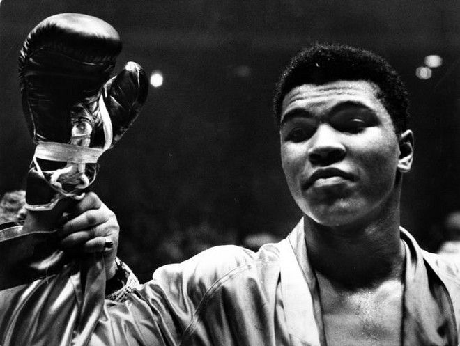 Cassius Clay (later Muhammad Ali)  after defeating Doug Jones in close heavyweight bout, in Madison Square Garden