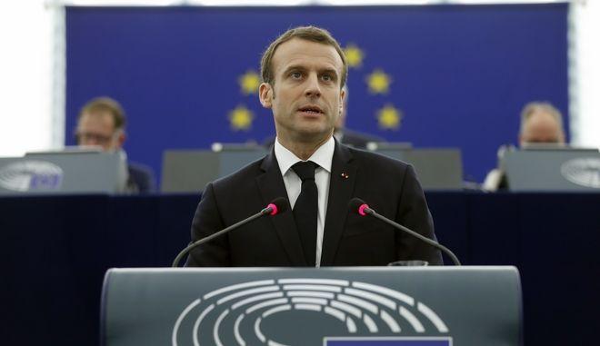 Ο πρόεδρος της Γαλλίας Εμμανουέλ Μακρόν στο Ευρωπαϊκό Κοινοβούλιο