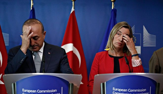 Press conference after the High-Level Political Dialogue meeting between the European Union and Turkey in Brussels, Belgium on Jul. 25, 2017. /                    25  2017.