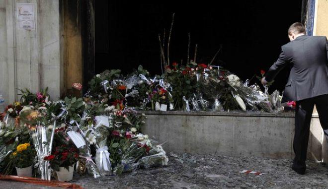 Το υποκατάστημα της MARFIN όπου εχθές έχασαν την ζωή τους τρείς υπάλληλοι,από πυρκαγιά που προκλήθηκε κατά την διάρκεια επεισοδίων στην χθεσινή πορεία,Πέμπτη 6 Μαϊου 2010(EUROKINISSI/ΒΑΪΟΣ ΧΑΣΙΑΛΗΣ)