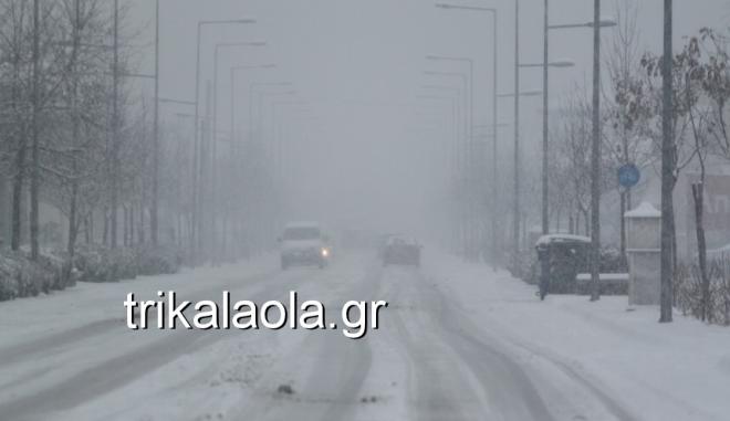 Έντονη χιονόπτωση στα Τρίκαλα  - Πού χρειάζονται αλυσίδες