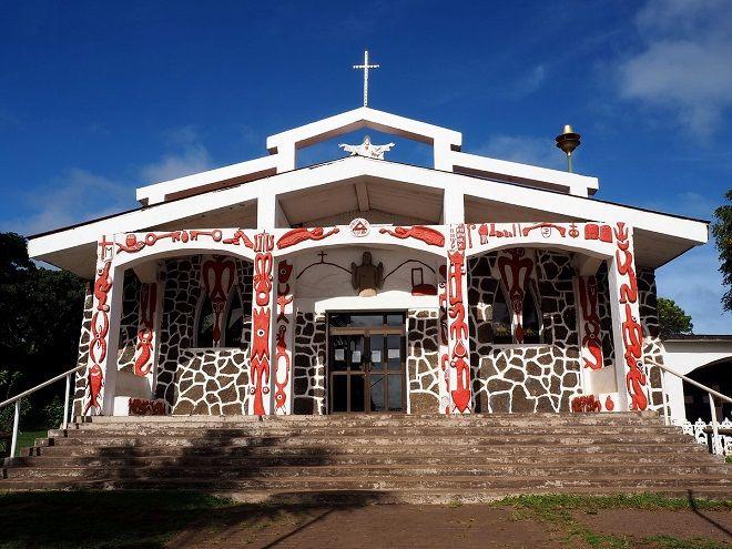 H εκκλησία στην μοναδική πόλη του Rapa Nui