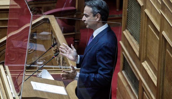 Ο πρωθυπουργός Κυριάκος Μητσοτάκης στη συζήτηση στον Ολομέλεια της Βουλής για το εργασιακό νομοσχέδιο