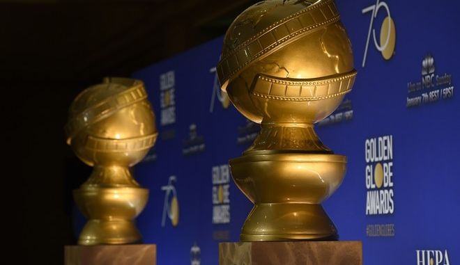 """FILE - In this Monday, Dec. 11, 2017 file photo, Golden Globe statues appear on stage prior to the nominations for 75th Annual Golden Globe Awards at the Beverly Hilton hotel in Beverly Hills, Calif. The Golden Globe Awards, to be presented on Sunday night, Jan. 7, 2018, will be the most prominent display yet for the """"MeToo"""" movement that has swept through Hollywood and left a trail of disgraced men in its wake. What has long been a star-studded primetime party may this Sunday take on the tenor of a protest rally. (Photo by Chris Pizzello/Invision/AP, File)"""