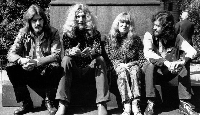 Μέλη των Led Zeppelin με την τραγουδίστρια Sandy Denny