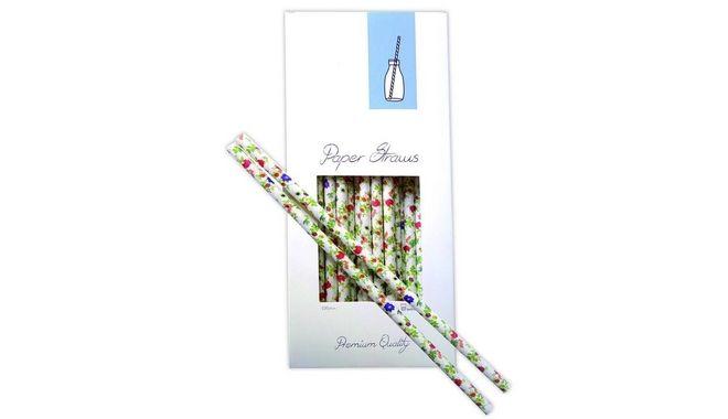 Καλαμάκια Χάρτινα με μοτίβο Λουλούδια, 100 Τεμάχια