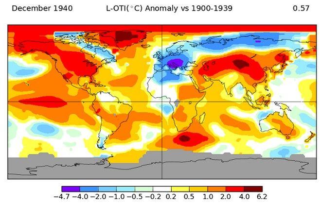 Θερμοκρασιακές αποκλίσεις Δεκεμβρίου 1940 σε σχέση με τις κλιματικές τιμές 1900-39