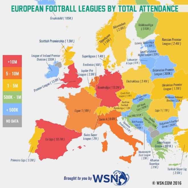 Χάρτης: Η Ευρώπη των πραγματικών φίλων του ποδοσφαίρου