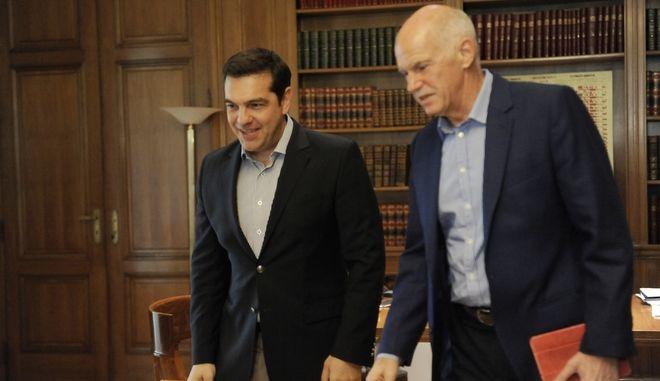 Συνάντηση του Αλέξη Τσίπρα με τον Γιώργο Παπανδρέου