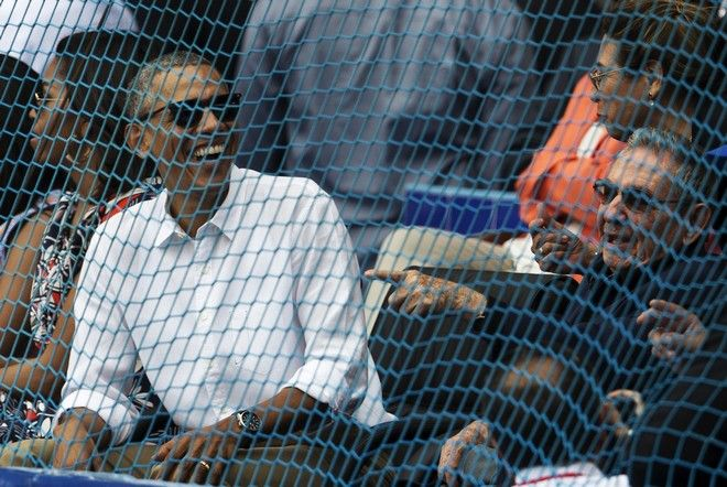 2016 AP YEAR END PHOTOS - Cuban President Raul Castro, right, and U.S. President Barack Obama attend a baseball game between the Tampa Bay Rays and the Cuban national baseball team in Havana, Cuba, on March 22, 2016. The crowd roared as Obama and Castro entered the stadium and walked toward their seats in the VIP section behind home plate. It was the first game featuring an MLB team in Cuba since the Baltimore Orioles played in the country in 1999. (Ismael Francisco/Cubadebate via AP, File)