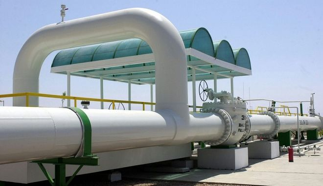 A part of the newly inaugurated Arab Gas Pipeline Project is seen near the Egyptian town of Taba, Sunday 27 July 2003, where Egyptian President Hosni Mubarak and Jordan's King Abdullah open the first phase of the pipeline that will eventually carry natural gas from Egypt to Jordan, Lebanon, Syria, Turkey and onto Europe. The first part of the pipeline which will provide Egyptian gas to Jordan was opened today with 16 km of the pipeline going under the Gulf of Aqaba to the port city of Aqaba, Jordan.  EPA PHOTO/EPA/STR