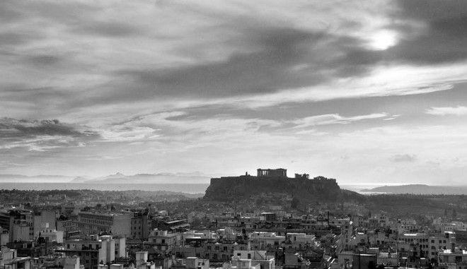 Πανοραμική άποψη της Αθήνας με την Ακρόπολη στο βάθος, 1960