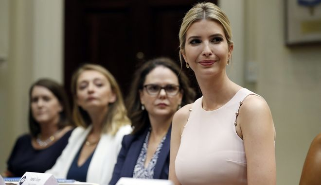 "Ivanka Trump, and Kim Lopez, Nicole Zillox, and Karla Mettling listen as military spouses discuss the problems they face with employment, as part of ""American Dream Week,"" Wednesday, Aug. 2, 2017, in the Roosevelt Room of the White House in Washington. (AP Photo/Alex Brandon)"
