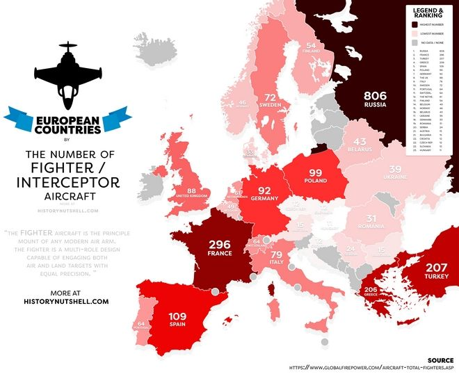 Χάρτης: Τα πολεμικά αεροσκάφη στην Ευρώπη. Πόσα έχει η Ελλάδα και πόσα η Τουρκία