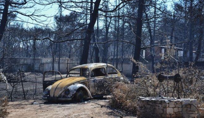 Εικόνα από το Μάτι λίγες μέρες μετά την φονική φωτιά