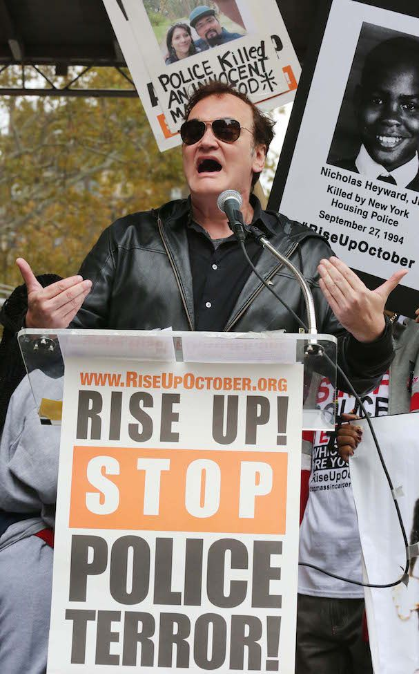 Quentin Tarantino, film director speaking during an organized protest against police brutality which began in Washington Square Park, mhtn.
