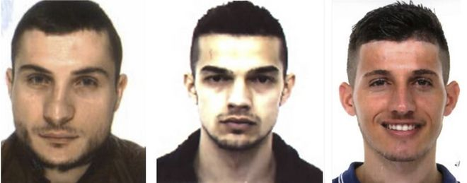 This combo picture made with mugshots released by Italian Police and Carabinieri shows, from left, three men identified as Arjan Babaj, Fisnik Bekaj and Dake Haziraj, the three Kosovans who were arrested in the city of Venice, Italy, after one was caught on a phone intercept proposing they bomb the Rialto bridge while others lauded the recent attack in London. Venice prosecutor Adelchi d'Ippolito said Thursday, March 30, 2017 a search of a Venice apartment showed the suspects were getting in physical shape and watching videos of Islamic extremists on how to carry out knife attacks. (Italian Police/Carabinieri via AP)