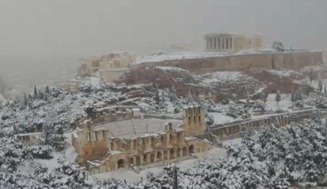 Η χιονισμένη από την κακοκαιρία Μήδεια, Ακρόπολη