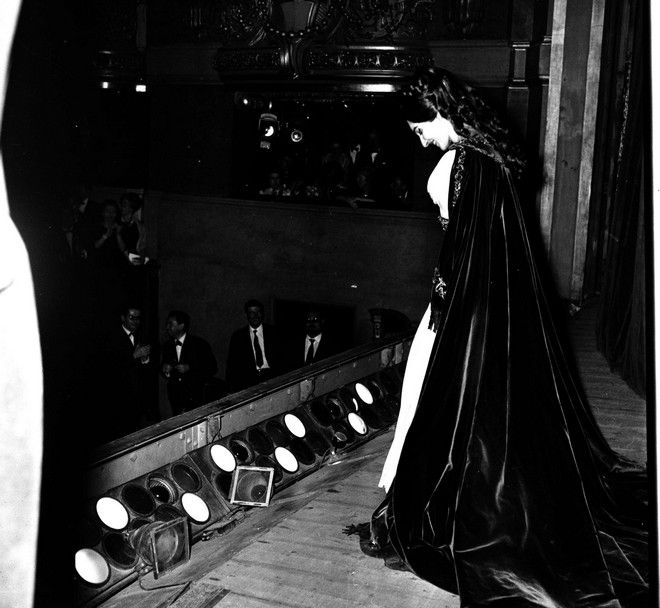 Maria Callas is seen during a curtain call after a performance, date and location unknown.  (AP Photo)