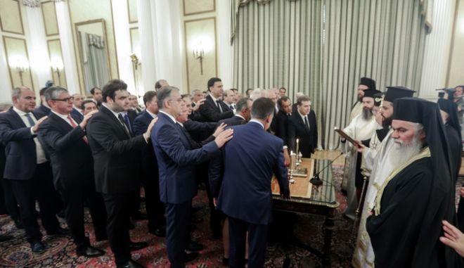 Ορκωμοσία των μελών της νέας κυβέρνησης την Τρίτη 9 Ιουλίου 2019, στο Προεδρικό Μέγαρο. (EUROKINISSI/ΓΙΩΡΓΟΣ ΚΟΝΤΑΡΙΝΗΣ)