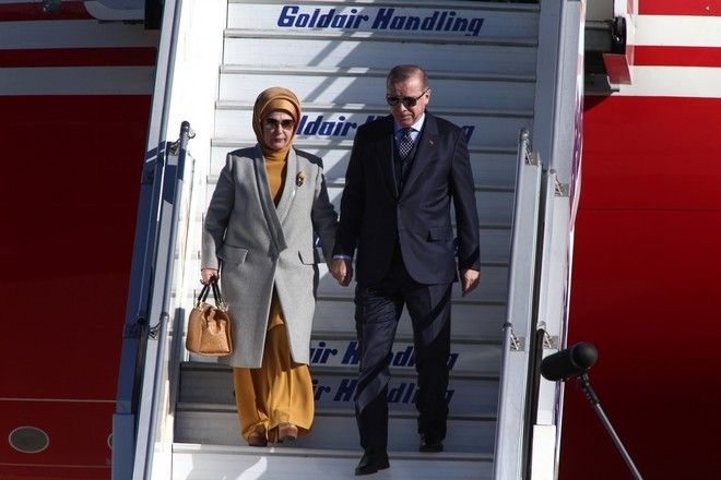 Arrival of the President of the Republic of Turkey, Recep Tayyip Erdoan and his wife, at Athens International Airport