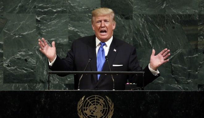 "FILE - In this Sept. 19, 2017, file photo, U.S. President Donald Trump addresses the 72nd session of the United Nations General Assembly, at U.N. headquarters. North Korean Foreign Minister Ri Yong Ho said his country may conduct a ""historic"" hydrogen bomb test in the Pacific Ocean. Many experts think North Korea wouldn't do something so risky, but it's hard to rule out given North Korea's steadily expanding nuclear and missile tests. (AP Photo/Richard Drew, File)"
