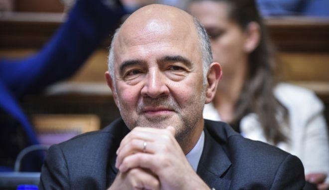 Ενημέρωση των μελών των Κοινοβουλευτικών Επιτροπών Ευρωπαϊκών Υποθέσεων, Εθνικής Άμυνας και Εξωτερικών Υποθέσεων, Οικονομικών Υποθέσεων και Κοινωνικών Υποθέσεων, από τον Επίτροπο της Ευρωπαϊκής Ένωσης, αρμόδιο για τις Οικονομικές και Νομισματικές Υποθέσεις, τη φορολογία και τα τελωνεία, Pierre Moscovici και τον Αναπληρωτή Υπουργό Εξωτερικών, αρμόδιο για τις Ευρωπαϊκές Υποθέσεις, Γιώργο Κατρούγκαλο. (EUROKINISSI/ΤΑΤΙΑΝΑ ΜΠΟΛΑΡΗ)