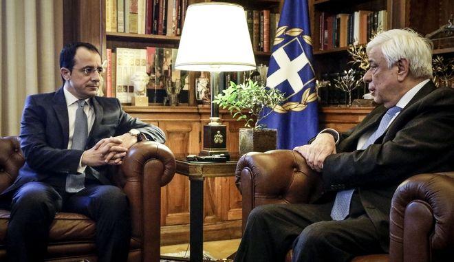 Συνάντηση του Προέδρου της Δημοκρα΄τιας Προκόπη Παυλόπουλου με τον υπουργό Εξωτερικών της Κυπριακής Δημοκρατίας, Νίκο Χριστοδουλίδη, την Τρίτη 6 Μαρτίου 2018, στο Προεδρικό Μέγαρο. (EUROKINISSI/ΓΙΑΝΝΗΣ ΠΑΝΑΓΟΠΟΥΛΟΣ)