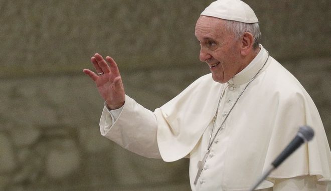 Pope Francis salutes during his weekly general audience at the Vatican, Wednesday, Aug. 9, 2017. (AP Photo/Gregorio Borgia)