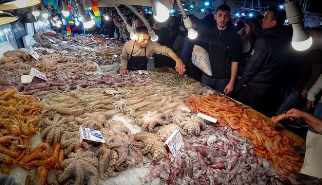Η ψαραγορά της Βαρβακείου Αγοράς