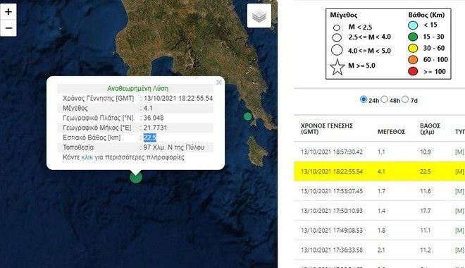 Σεισμός 4,1 Ρίχτερ ανοιχτά της Πύλου