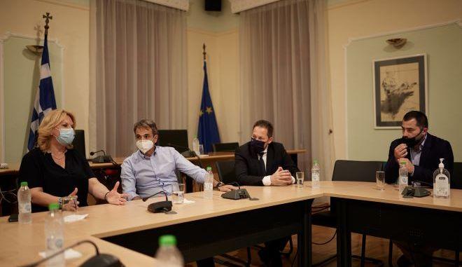 Συναντήσεις του Πρωθυπουργού Κυριάκου Μητσοτάκη με τον Περιφερειάρχη Στερεάς Ελλάδας Φάνη Σπανό και την Δήμαρχο Χαλκιδέων Έλενα Βάκα.