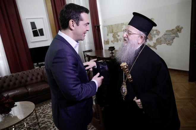 Greek Prime Minister Alexis Tsipras meets the Bishop of Thessaloniki Anthimos at the prime minster's office during his two days visit in Thessaloniki, Greece on January 5, 2017. /                     , 5  2017.