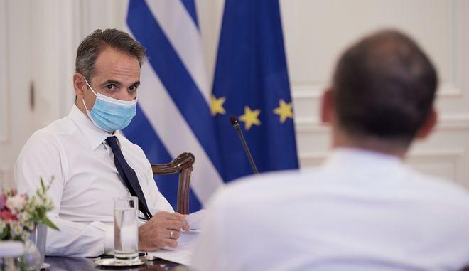 Ο Κυριάκος Μητσοτάκης στη συνεδρίαση του υπουργικού συμβουλίου