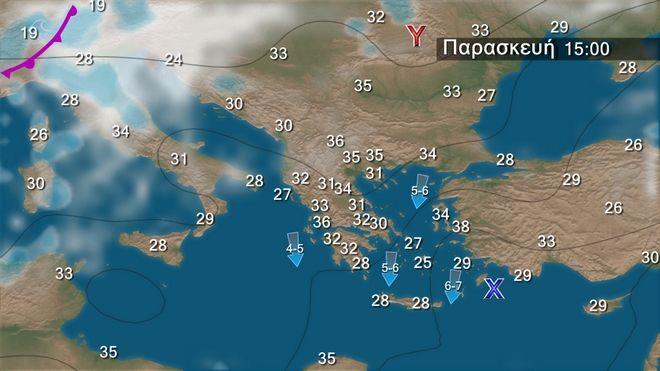 Ηλιοφάνεια με μελτέμι στο Αιγαίο - Διατηρείται ζεστός ο καιρός στα ηπειρωτικά