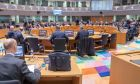 Στιγμιότυπο από συνεδρίαση του Eurogroup στις Βρυξέλλες.