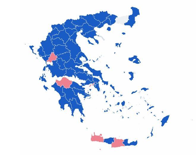 Αποτελέσματα εκλογών 2019: Ο χάρτης της Ελλάδας στο 37,86% της ενσωμάτωσης