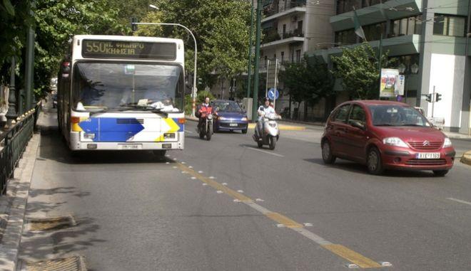 Λεωφορείο στην Αθήνα - Στιγμιότυπο από την Βασ. Κωνσταντίνου