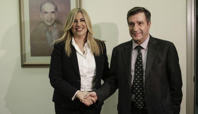 Η Πρόεδρος του ΠΑΣΟΚ και επικεφαλής της Δημοκρατικής Συμπαράταξης συναντήθηκε σήμερα, 14 Νοεμβρίου 2017, με τον Δήμαρχο Αθηναίων Γιώργο Καμίνη στα γραφεία του ΠΑΣΟΚ στη Χαριλάου Τρικούπη. (EUROKINISSI / Γιάννης Παναγόπουλος)