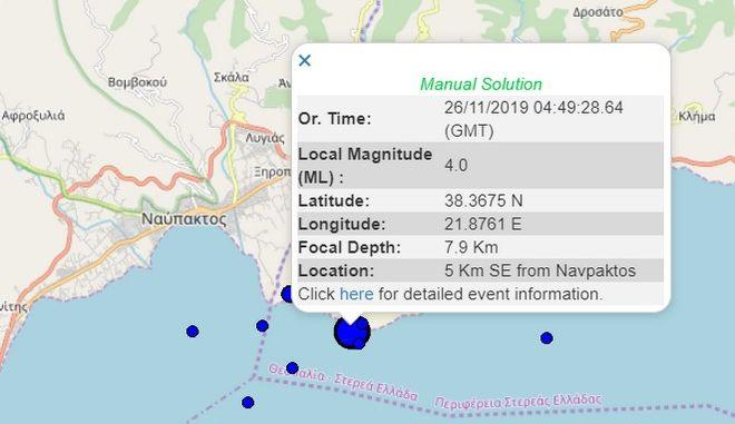 Σεισμός 4 Ρίχτερ στη Ναύπακτο