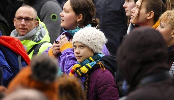 Γκρέτα Τούνμπεργκ σε διαδήλωση για το κλίμα στις Βρυξέλλες