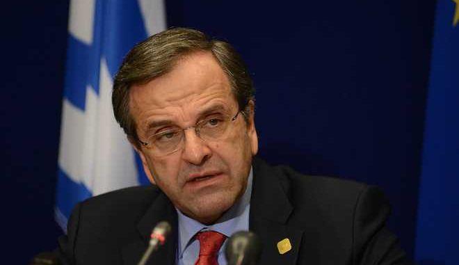Ο πρωθυπουργός Αντ. Σαμαράς στην συνέντευξη τύπου μετά το τέλος της Συνόδου Κορυφής της Ευρωπαϊκής Ένωσης την Παρασκευή 20 Δεκεμβρίου 2013, στις Βρυξέλλες. (EUROKINISSI/ΓΟΥΛΙΕΛΜΟΣ ΑΝΤΩΝΙΟΥ)